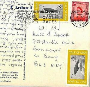 BL17 Great Britain 1970 IOM REGIONAL *Calf of Man* LOCAL ISSUES Postcard BIRDS