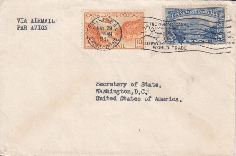1941, Cristobal, Canal Zone to State Dept., Washington, DC See Remark (22786)