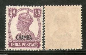 India CHAMBA State KG VI ½An Postage Stamp SG 109 / Sc 90 1v MNH