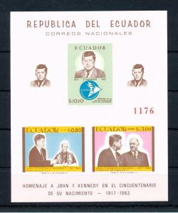 [49167] Ecuador 1963 John F. Kennedy Homage Imperforated SS MNH