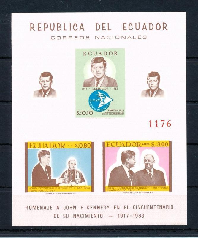 [49167] Ecuador 1963 John F. Kennedy Homage Imperforated SS MNH
