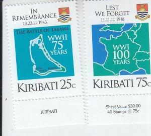 2019 Kiribati End of WWII (2) (Scott NA) MNH
