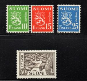 Finland Sc 302-5 1952 Lion & Woodcutter stamp set mint