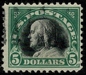 U.S.A. 1917-20 5$ BLACK & GREEN (TYPE 138) VFU SG528 Wmk.none P.11 VGC