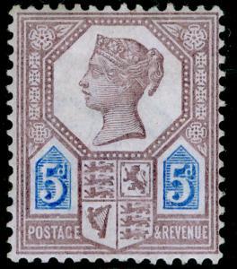 SG207a, 5d dull purple & blue, DIE II, M MINT. Cat £42.