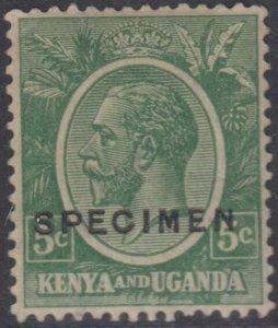 BC KENYA, UGANDA & TANZANIA 1922-27 KGV Sc 20 OVPTD SPECIMEN MLH