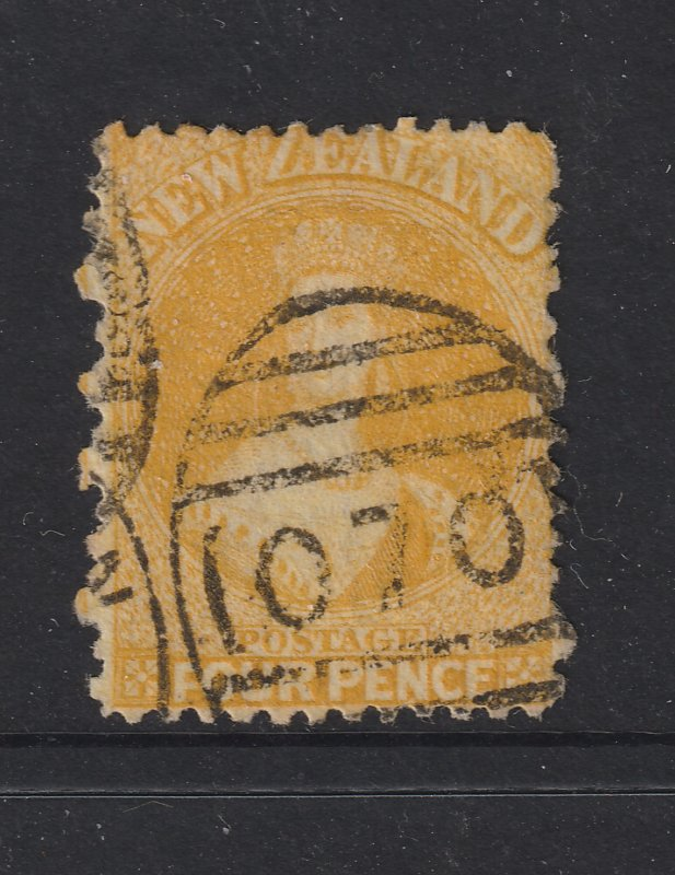 New Zealand a used 4d yellow QV FFQ from 1864
