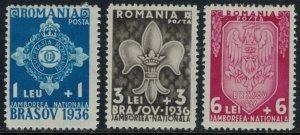 Romania #B63-5*  CV $13.50  1936 Scouts Jamboree