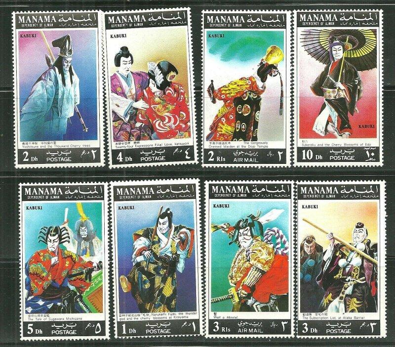 Manama MNH Set Japanese Kabuki Characters