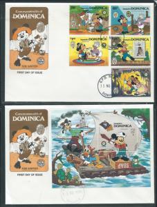 Dominica 919-24 Disney 1985 Christmas Mark Tain FDC set of 2