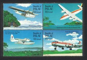 Palau 50th Anniversary of First Trans-Pacific Airmail Flight 4v Block of 4