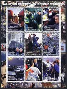 Turkmenistan 2001 Saluting Emergency Rescue Workers perf ...