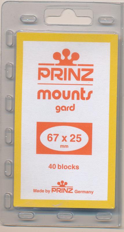 Prinz Scott Stamp Mounts Size 67/25 CLEAR Background Pack of 40
