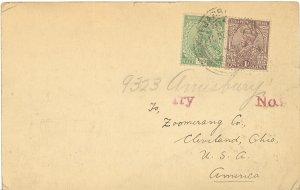 India  1924  Postcard to USA