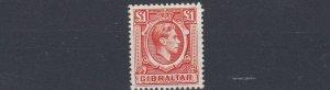 GIBRALTAR  1938  S G 131  £1  ORANGE  MH