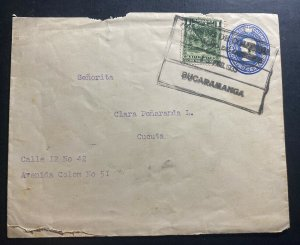 1933 Bucaramanga Colombia Postal Stationery Cover To Cucuta