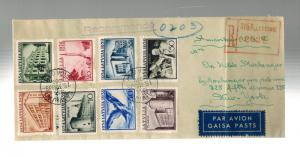 1939 Riga Latvia First Day Cover to USA Complete Set # 207-214 FDC via Berlin