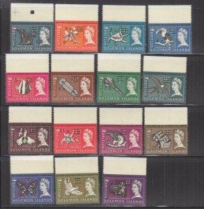 SOLOMON ISLANDS, 1966 upright watermark, decimal overprint set of 15, mnh.