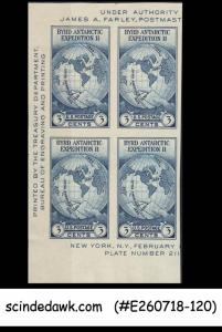 UNITED STATES USA - 1934 2nd ANTARCTIC EXPEDITION OF BYRD - BLK OF 4 MNH IMPERF