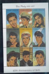 ELVIS PRESLY 60th Anniv of Birth Souvenir Sheet MNH - St.Thomas & Principe E2