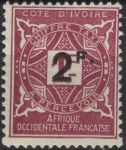Ivory Coast J17 (mh) 2fr on 1fr postage due, lilac rose (1914)