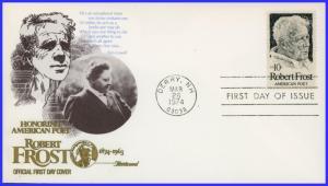 US FDC #1526 10c Robert Frost set of 5 Cachets ~ Fleetwood (8724)