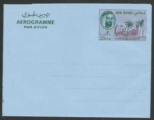 ABU DHABI 20f Palace aerogramme fine unused................................52101