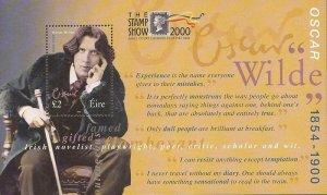 Ireland - 2000 Oscar Wilde - Souvenir Sheet w/Overprint #1237a
