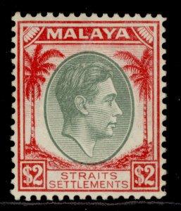 MALAYSIA - Straits Settlements GVI SG291, $2 green & scarlet, M MINT. Cat £48.