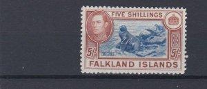 FALKLAND ISLANDS  1938 - 50 S G 161  5 /-  BLUE & CHESTNUT MH  £150