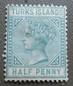 Turks Islands 1881 Victoria 1/2p Blue Breen  Stamp #48a MH. CV $20