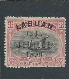 LABUAN 1896 JUBILEE 8c BLACK & PINK PERF 13½-14 MM SG 88b CAT £55