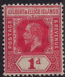 Gilbert & Ellice Islands 1912 - 24 KGV 1d Carmine MM SG 13 ( B726 )