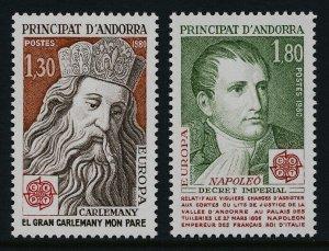 Andorra Fr 279-80 MNH EUROPA, Charlemagne, Napoleon I