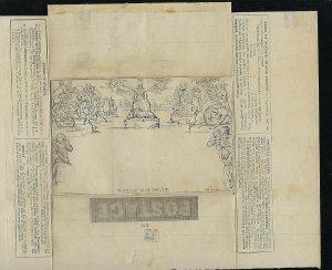 GREAT BRITAIN SCOTT #U3 1840- LETTER SHEET- ONE PENNY-  UNUSUED
