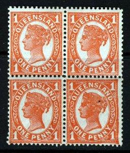 QUEENSLAND AUSTRALIA QV 1897 1d. Vermilion BLOCK Wmk Crown over Q SG 232 MINT