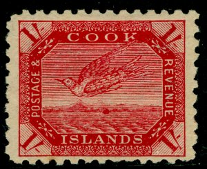 COOK ISLANDS SG20a, 1s red/thin toned, M MINT. Cat £48.