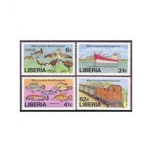 Liberia 1005-1008,MNH.Mi 1311-1314. Louisiana EXPO-1984.Ducks,Ship,Fish,Train.