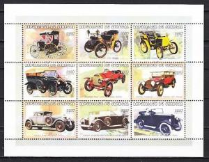 Senegal, Scott cat. 1387. Antique Automobiles sheet of 9.