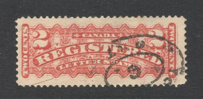 Canada #F1 Vermilion - Registration Stamp - Reg. Cancel