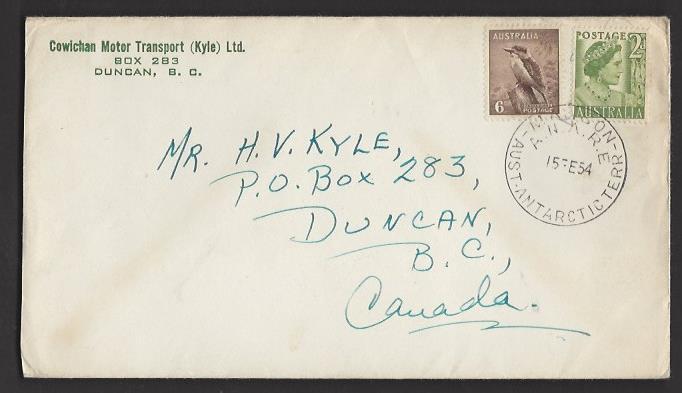 AUSTRALIAN ANTARCTIC TERRITORIES 1954 MAWSON to CANADA Corner Card Cover