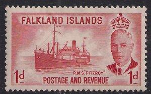Falkland Islands 1952 KGV1 1d Scarlet MM SG 173 ( F399 )