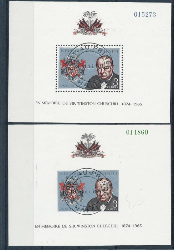 [19621] Haiti 1968 Winston Churchill pair of VF S/S perf imperf Used