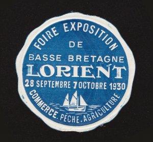 REKLAMEMARKE POSTER STAMP FOIRE EXPOSITION DE BASSE BRETAGNE LORIENT 1930