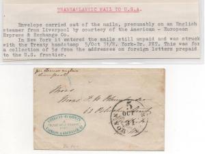 TRANS-ATLANTIC Ship Cover Liverpool NY Treaty H/S Probably Cunard ASIA Ship 1856