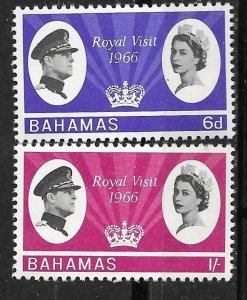 Bahamas # 228-29  Royal Visit  1966  (2)  Mint NH