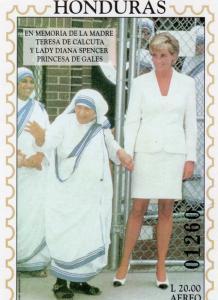 Honduras 1997 Sc#C1013 Diana Princess of Wales with Mother Teresa SS Imperf.MNH