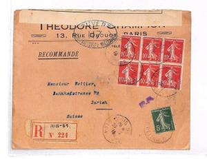 GG202 1916 Paris France Zurich Switzerland Cover {samwells-covers}PTS