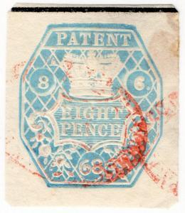 (I.B) QV Revenue : Patent Office 8d (1868) sideways watermark