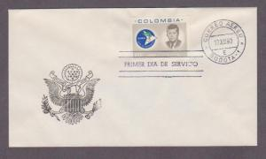 Colombia Airmail # C455 John F Kennedy , JFK , FDC - I Combine S/H